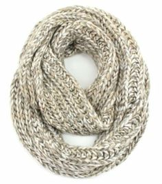 Amazon.com: Multi Color Knit Infinity Scarf, Chunky Knit Cowl Infinity Scarf (Beige-White): Clothing