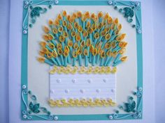 quilled birthday cake card | Ducky's 75th Birthday Card - Quilled Creations Quilling Gallery