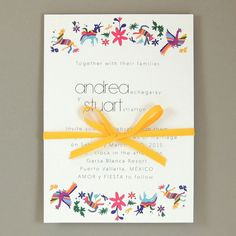 Andrea Suite - Otomi Animal Print Destination Wedding Invite - Mexico De Mis Amores Wedding Invite - Customizable Wedding Invite - Sample