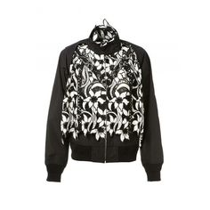 6902878758a2 Sacai Canvas and Broderie Anglaise Floral Jacket ( 816) ❤ liked on Polyvore  featuring outerwear