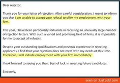 How to properly respond to a letter of rejection.