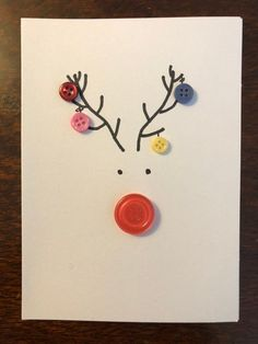 Button Reindeer Card - - White card with buttons and black market to create a reindeer with baubles hanging from the antlers. Button Christmas Cards, Christmas Buttons, Christmas Card Crafts, Homemade Christmas Cards, Printable Christmas Cards, Christmas Cards To Make, Homemade Cards, Handmade Christmas, Christmas Card Designs