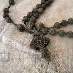 Antique Stanhope rosary, French religious wooden jewelry