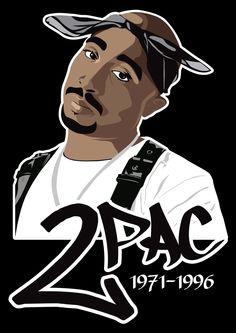 Vector portrait of Tupac Shakur.