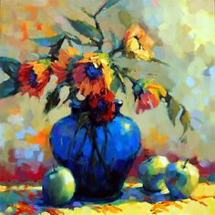 Sunflowers in Blue Vase by Trisha Adams Oil ~ 30 x 30 Selling Paintings, Paintings I Love, Art Floral, Painting & Drawing, Watercolor Paintings, Dynamic Painting, Art Aquarelle, Painting Competition, Sunflower Art