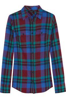 J.Crew Garnet Flame plaid cotton shirt