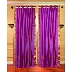 43 x 84 Violet/ Gold Ring-top Sheer Sari Curtain Panel (India)