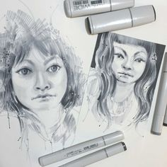 Using Copic WIDE Markers in a Portrait by Gentian Osman