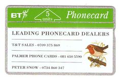Card number BTG015. 600 issued in 1991. Control number 132H20096. Leading Phonecard Dealers.