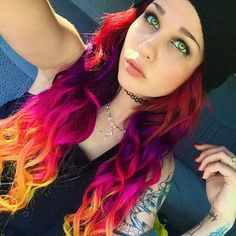 Wonderful red hair color ombre to orange with purple, starburst style from VP-doll Amber Katelyn Beale with Blonde DIY 613A
