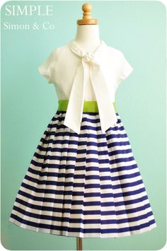 Sailor dress. . .love the stripes, pleats and the contrasting lime belt.