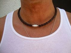 Mens Leather Necklace, Stainless Steel Magnetic Clasp,Mens Necklace,Mens Jewelry, Groomsmen on Etsy, $34.99