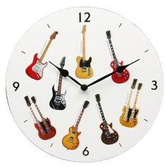 GUITAR WALL CLOCK - An Ideal Gift For Any Guitarist / Rocker - Decorated with images of Images of Les Paul Custom Red Wine, Gibson EDS1275, Fender Stratocaster, Les Paul Slash LP Custom, Ibanez UV777 & Fender Telecaster