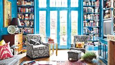 Fun, colorful, eclectic room.