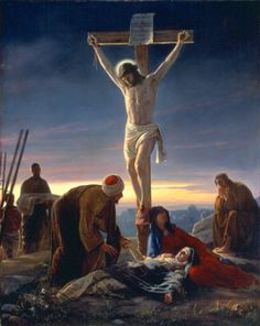 The Crucifixion - Carl Bloch - 54 Paintings of the Passion, Death and Resurrection of Jesus Christ-one of the paintings in our old Family Bible. Pictures Of Jesus Christ, Images Of Christ, Catholic Pictures, Catholic Art, Religious Art, Catholic Daily, Roman Catholic, Catholic Theology, Catholic Catechism
