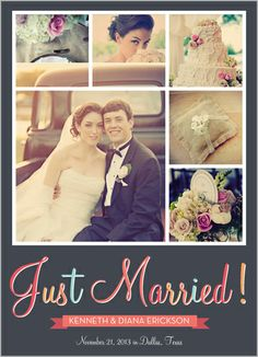 cute 'just married' announcement for family and friends who didn't make it to the ceremony