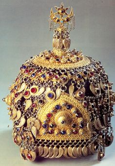 Bridal/festive woman's hat.  From Laks or Tats, northern Azerbaijan or southern Daghestan, ca. early 20th century.