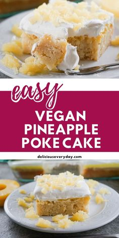 The taste of summer will come rushing in with the first bite of this Pineapple Poke Cake. Vegan-friendly and cruelty-free, this cake is super moist and bursting with pineapple flavor. Top it off with some vegan whipped cream for the perfect finish to a perfect cake. Poke Cake Recipes, Homemade Cake Recipes, Healthy Vegan Desserts, Vegan Dessert Recipes, Pineapple Poke Cake, Cake Portions, Chocolate And Vanilla Cake, Vegan Whipped Cream, Easy Vegan Dinner
