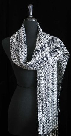 Handwoven Scarf Silk Wool Cashmere Scarf Black by FiberFusion, $110.00