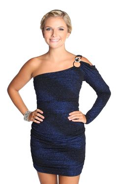 royal blue one shoulder #homecoming dress with #glitter #ombre stripes  $48.50