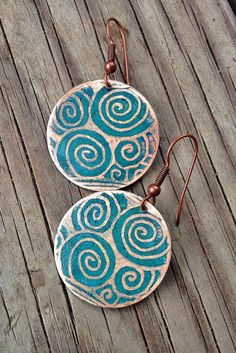 Etched Copper Earrings / Blue Spiral Earrings / by Lammergeier, $24.00