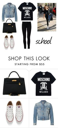 """4.1"" by ronniebenett ❤ liked on Polyvore featuring Hermès, Moschino, Converse, Mother and Frame"