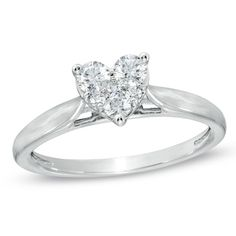 1/3 CT. T.W. Diamond Heart Cluster Promise Ring in 10K White Gold - Zales