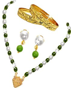 A Genuine Pearl & Green Bead Set with Earrings and Bangles. ABSOLUTELY FREE