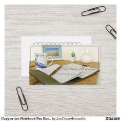 Shop Copywriter Notebook Pen Business Card created by LosCrazyAvocados. Consultant Business, Copywriter, Professional Business Cards, Create Your Own, Notebook, Place Card Holders, Paper, The Notebook, Exercise Book