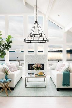 HGTV Dream Home 2018 white lake house living room on Thou Swell @thouswellblog #ad