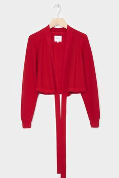 Merino Composure Cardigan, Red Wrap Cardigan, Work Fashion, Organic Cotton, Bell Sleeve Top, Sleeves, Sweaters, Red, Clothes, Collection