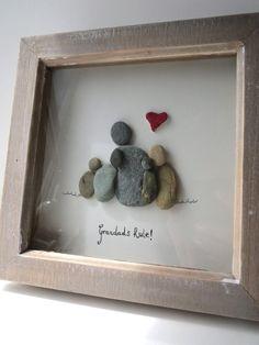 Grandads Rule Pebble Art Grandchildren Gift Picture Kieselsteinkunstkreative Geschenkefamilienbilderenkelwunderschöne