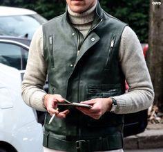 Cream turtleneck, green leather vest gillet, weekend