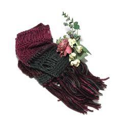 Knit Scarf Burgundy Scarf Gray Scarf Hand Knit by ArlenesBoutique $50.00 #scarf #knitscarf