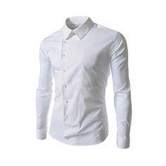 Jogal 3D estilo coreano Ocio cuello de la camisa de manga larga del color sólido de la camisa de cuello de camisas – USD $ 10.99