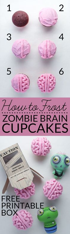 Learn how to frost brain cupcakes with this easy tutorial. You can celebrate everything zombie and goolish with this all natural zombie brain cupcake recipe that contain no artificial food coloring! Free zombie gift box. Great Halloween or Valentine treat via @brendidblog