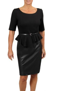 Nanette Lepore Womens Can Can Black Knee-length Wear to Work Dress 4 BHFO 2585 for sale online Faux Leather Pencil Skirt, Black Knees, Nanette Lepore, Work Wear, Peplum Dress, Autumn Fashion, Dresses For Work, My Style, Joseph
