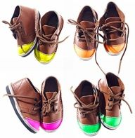 Handmade neon-tipped shoes by Schier. Brown leather with neon. They are handcrafted in Africa and only 160 are made. Little Doll, Little Babies, Little Ones, Baby Kids, Fashion Kids, Little Fashion, Toddler Fashion, Fashion Shoes, Kid Styles