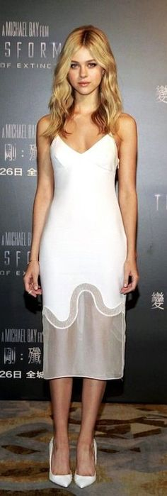 Nicola Peltz in a White Stella McCartney Dress