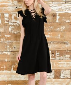 Another great find on #zulily! Black Lace-Up Ruffle Cap-Sleeve Dress #zulilyfinds