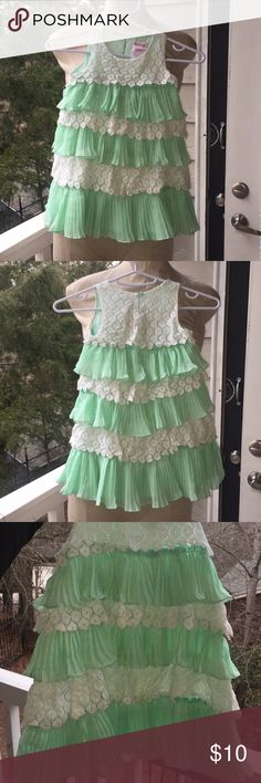 Mint Green & Eyelet Lace Layered Dress 👗 The mint green is in pleats, the white eyelet lace just hangs. Great for events and family gatherings. Very pretty on!!! Nannette Dresses Casual