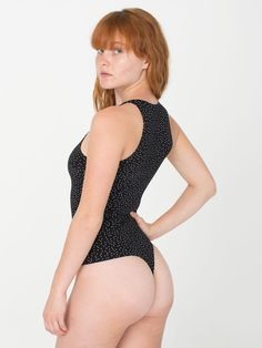 Polka Dot Print Cotton Spandex Sleeveless Thong Bodysuit