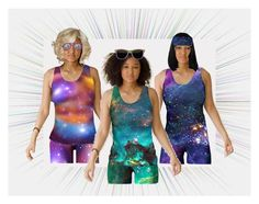 #Galaxy Fitted #TankTops by #sandyspider on #Polyvore Find these at https://artofwhere.com/artists/sandyspider/clothing/fitted-tank-top #Artofwhere The #sunglasses are found on #Zazzle