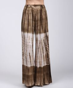 Look at this #zulilyfind! Brown & White Tie-Dye Palazzo Pants #zulilyfinds