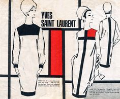The Mondrian dress was designed by Saint Laurent. It was full of geometric line and was inspired by the Dutch painter Piet Mondrian. Piet Mondrian, Mondrian Dress, 1960s Fashion, Fashion Art, Vintage Fashion, Fashion Design, Yves Saint Laurent, Dress Sewing Patterns, Vintage Sewing Patterns