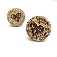 Woodland Wedding Personalized Carved Initials Faux Bois Wood Grain Cufflinks - Wood You Love Me. $45.00, via Etsy.
