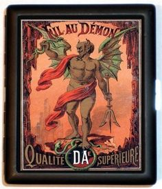 Demon Devil Victorian Vintage Advertisement French Design Art Noveau Black Metal Cigarette Id Case Business Card Holder Wallet via Etsy