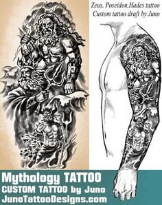 Greek mythology tattoo, zeus tattoo, hades tattoo, poseidon tattoo, juno tattoo designs