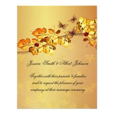 DealsLuxury Gold Autumn Butterfly  Wedding Invitation Invitewe are given they also recommend where is the best to buy