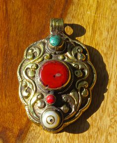 Tibetan Brass Pendant  Coral Turquoise & Mother Of by BenitoArvizo, $69.99